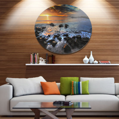 Design Art Sunset over Rocky Ocean Shore Large Landscape Metal Circle Wall Art