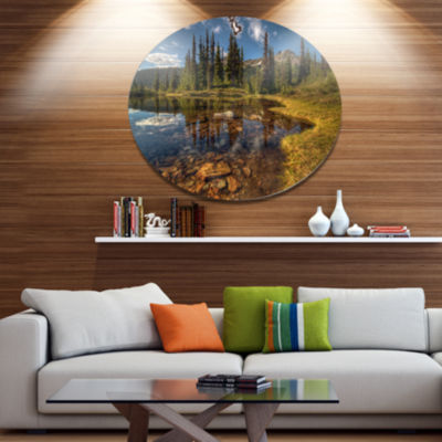 Design Art Bright Clear Day and Clear Lake Extra Large Landscape Metal Circle Wall Art