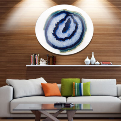 Design Art Slice of Beautiful Blue Agate Disc Abstract Metal Circle Wall Art Print