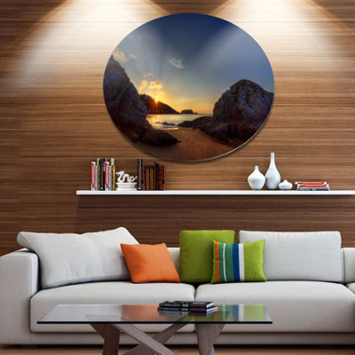 Design Art Hills in Beautiful Mountain Beach ExtraLarge Landscape Metal Circle Wall Art