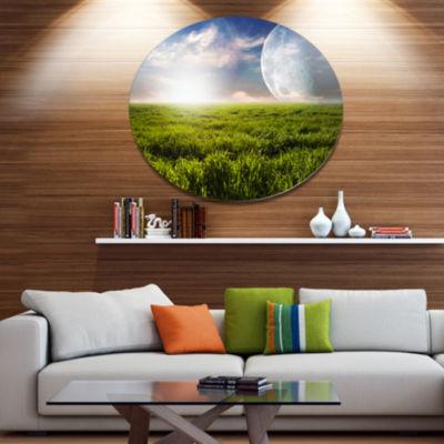 Design Art Green Field under Bright Sunlight DiscExtra Large Landscape Metal Circle Wall Art