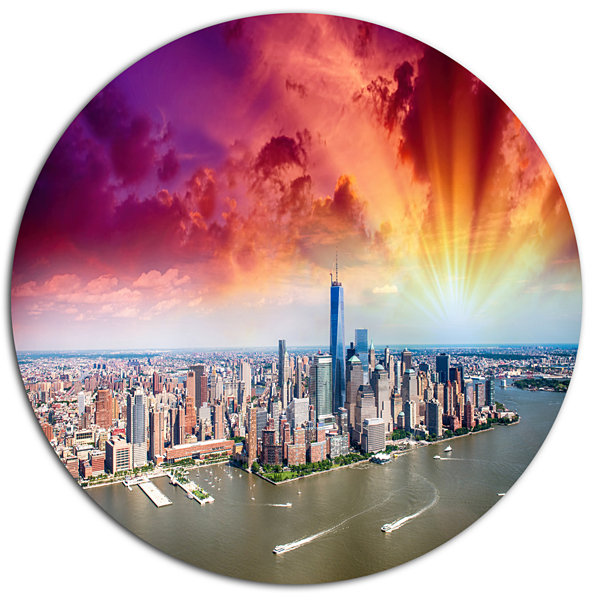Design Art Colorful New York Skyline Aerial View Disc Cityscape Metal Circle Wall Art