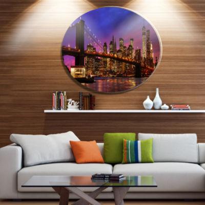 Design Art Brooklyn Bridge and Manhattan at SunsetDisc Extra Large Metal Circle Wall Art