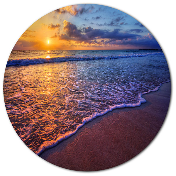 Design Art Sunset over Blue Seashore Seashore Photo Metal Circle Wall Art
