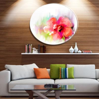 Design Art Beautiful Red Floral Watercolor Disc Floral Metal Circle Wall Art