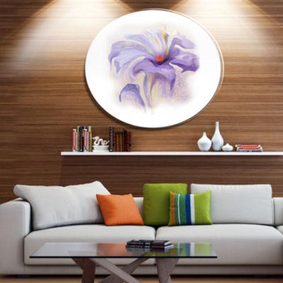 Design Art Purple Flower Watercolor Illustration Disc Large Animal Metal Circle Wall Art