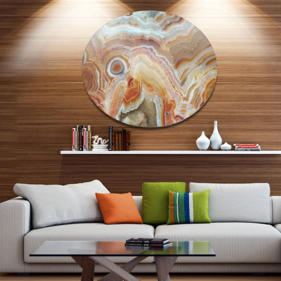Design Art Strips and Ovals on Agate Disc AbstractMetal Circle Wall Art Print