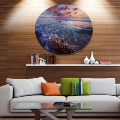 Design Art Cloudy Sky and Stormy Waves Seashore Metal Circle Wall Art