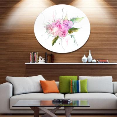 Design Art Pink Bouquet of Pansies Disc Large Animal Metal Circle Wall Art