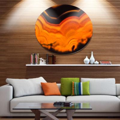 Design Art Agate Macro Orange Disc Abstract MetalCircle Wall Art Print