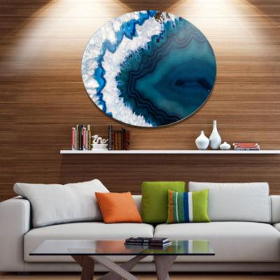 Design Art Blue Brazilian Geode Disc Abstract Metal Circle Wall Art Print