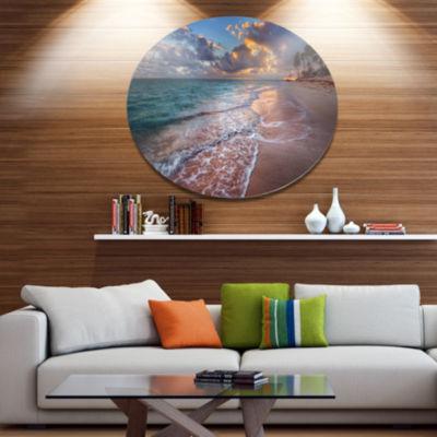 Design Art Palm Trees on Clear Sandy Beach Seashore Metal Circle Wall Art