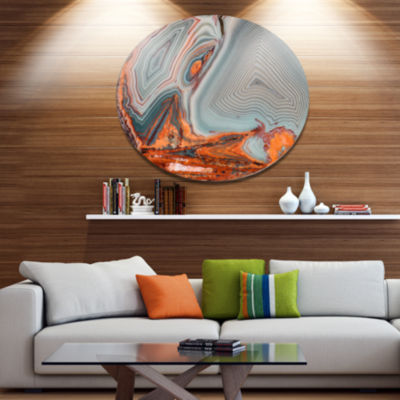 Design Art Beautiful Lake Superior Agate Disc Abstract Metal Circle Wall Art