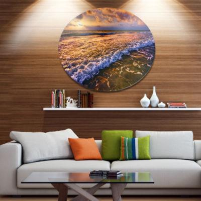 Design Art Beautiful Sunset with White Waters Seashore Metal Circle Wall Art