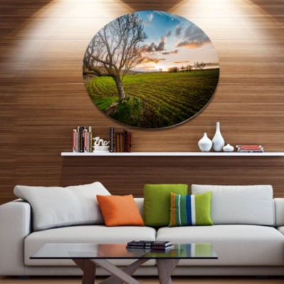 Design Art Sunset in Sardinia Grassland Disc ExtraLarge Landscape Metal Circle Wall Art