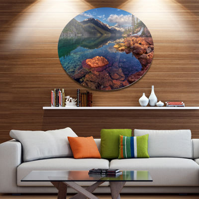 Design Art Clear Lake with Distant Mountains ExtraLarge Landscape Metal Circle Wall Art