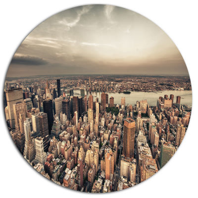 Design Art Manhattan Skyscrapers Aerial View DiscCityscape Metal Circle Wall Art