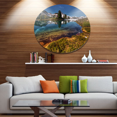 Design Art Curving Mountain Lake Shore Extra LargeLandscape Metal Circle Wall Art