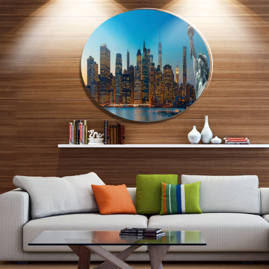 Design Art Evening New York City Skyline PanoramaDisc Extra Large Metal Circle Wall Art