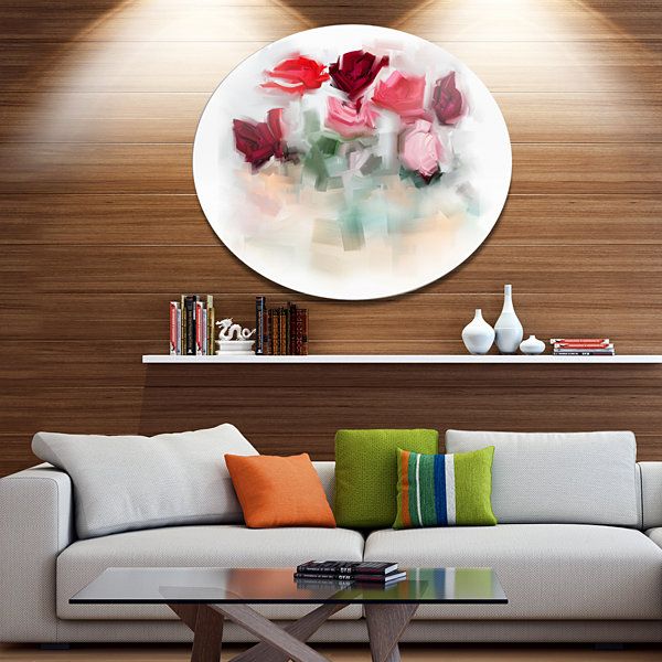 Design Art Rose Floral Watercolor Illustration Disc Large Animal Metal Circle Wall Art