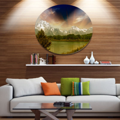 Design Art Grand Teton National Park Disc Extra Large Landscape Metal Circle Wall Art