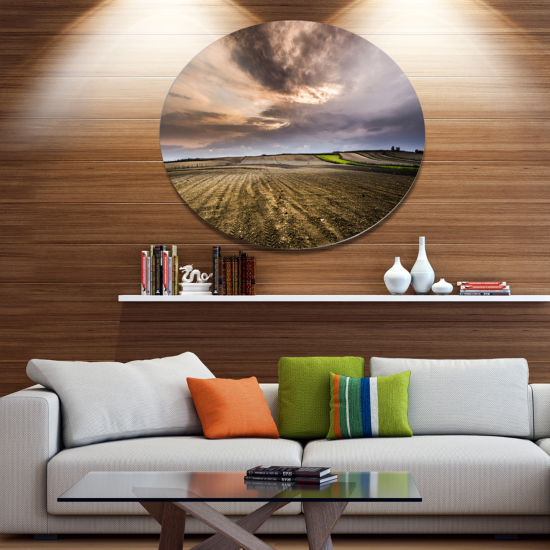 Design Art Field Waiting for Cultivation Disc Landscape Metal Circle Wall Art