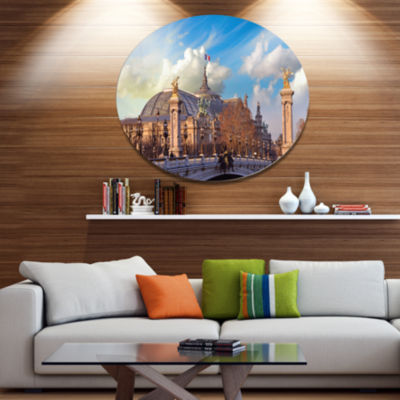 Design Art Famous Great Palace in Paris Disc Cityscape Metal Circle Wall Art