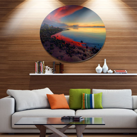 Design Art Blasts of Color at the Sunset SeashoreMetal Circle Wall Art