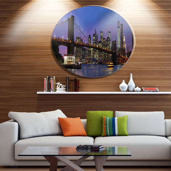 Design Art Brooklyn Bridge and Manhattan at SunsetDisc Large Metal Circle Wall Art
