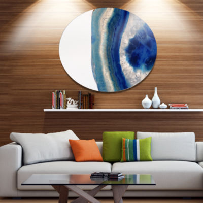 Design Art Macro of Blue Agate Stone Disc AbstractMetal Circle Wall Art Print
