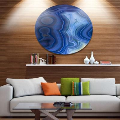 Design Art Blue Agate Stone Design Disc Abstract Metal Circle Wall Art Print