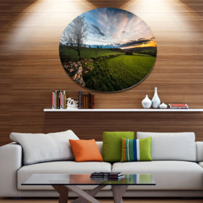 Design Art Beautiful Green Meadow in Sardinia DiscLandscape Metal Circle Wall Art