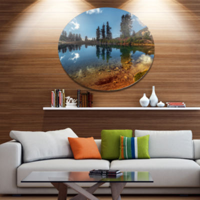 Design Art Clear Lake with Row of Pine Trees ExtraLarge Landscape Metal Circle Wall Art