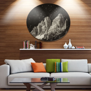 Design Art High Peaks of Dolomites Italian Alps Disc Extra Large Landscape Metal Circle Wall Art