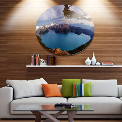 Design Art Clear Lake with Bright Sky Extra LargeLandscape Metal Circle Wall Art