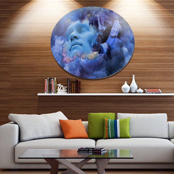 Design Art Game Of Dream Woman Sleeping Disc Abstract Metal Circle Wall Art Print