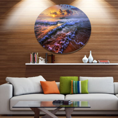 Design Art Sunset over Blue Tinged Waves SeashorePhoto Metal Circle Wall Art