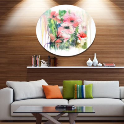 Design Art Pink Floral Watercolor Illustration Disc Large Animal Metal Circle Wall Art