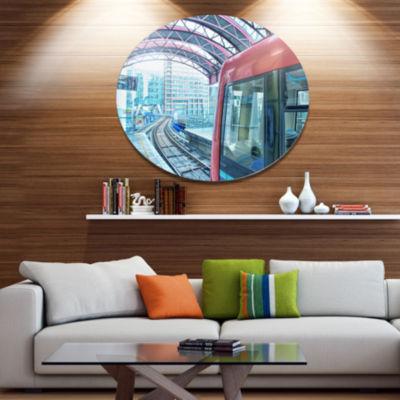 Design Art Departing London Subway Train Disc Cityscape Metal Circle Wall Art
