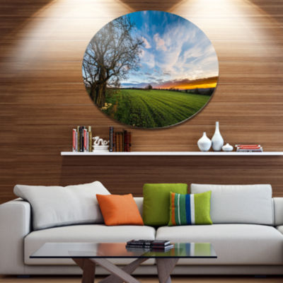 Design Art Green Pasture under Blue Sky Disc ExtraLarge Landscape Metal Circle Wall Art
