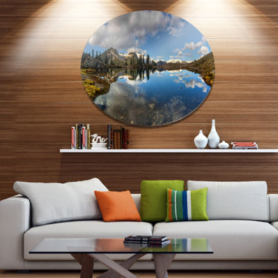 Design Art Clear Lake with Pine Trees Panorama Extra Large Landscape Metal Circle Wall Art