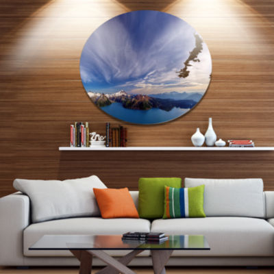 Design Art Stunning View of Clear Lake Extra LargeLandscape Metal Circle Wall Art