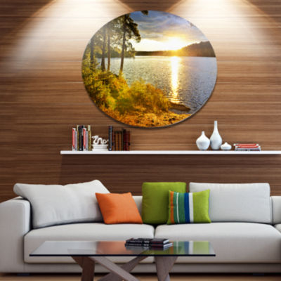Design Art Beautiful View of Sunset over Lake DiscLandscape Metal Circle Wall Art