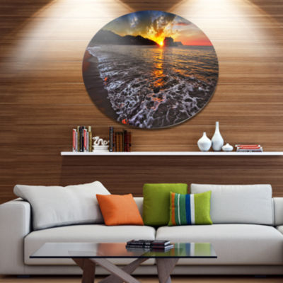 Design Art Setting Sun and White Waves Seashore Photo Metal Circle Wall Art
