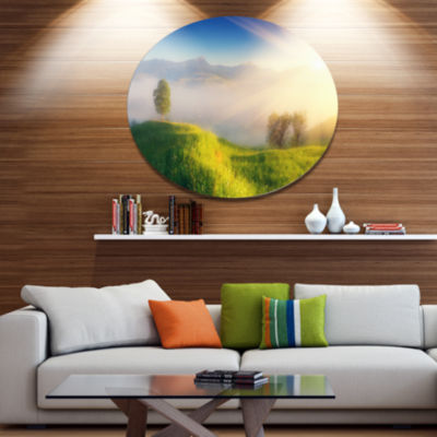 Design Art Morning Mist over Mountain Village DiscExtra Large Landscape Metal Circle Wall Art