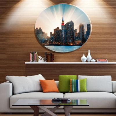 Design Art Manhattan Skyline at Bright Sunset DiscExtra Large Metal Circle Wall Art