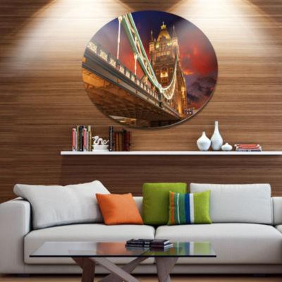 Design Art Famous Tower Bridge at Night Disc Cityscape Metal Circle Wall Art