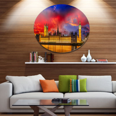 Design Art House of Parliament at River Thames Disc Cityscape Metal Circle Wall Art