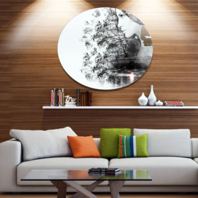 Design Art Woman and Beauty of Nature Disc Extra Large Landscape Metal Circle Wall Art