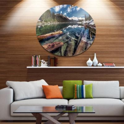 Design Art Sunken Logs n Mountain Lake Extra LargeLandscape Metal Circle Wall Art